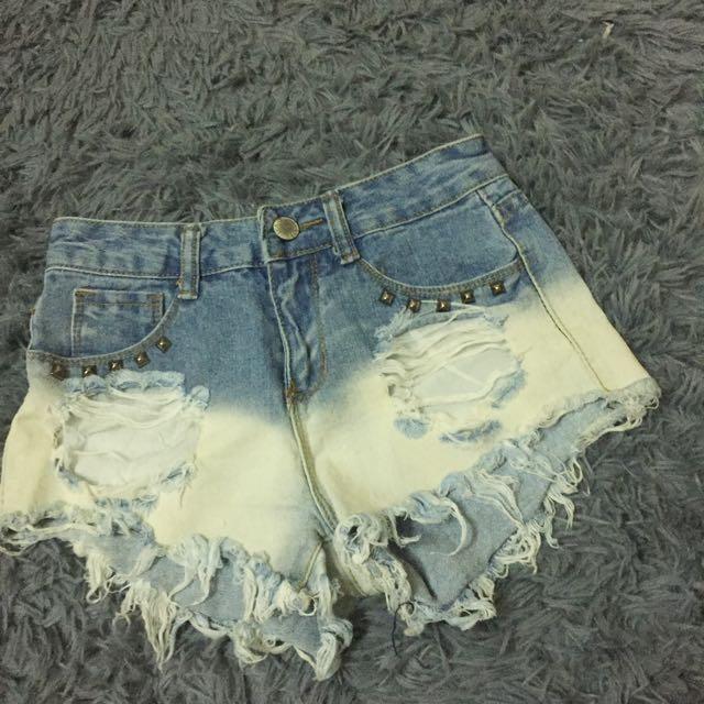 漸層刷色牛仔短褲 #夏日九九出清