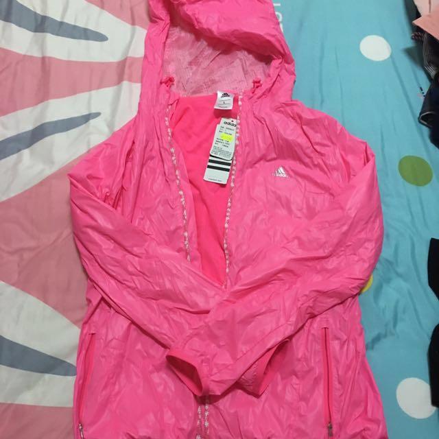 adidas粉色螢光防風外套
