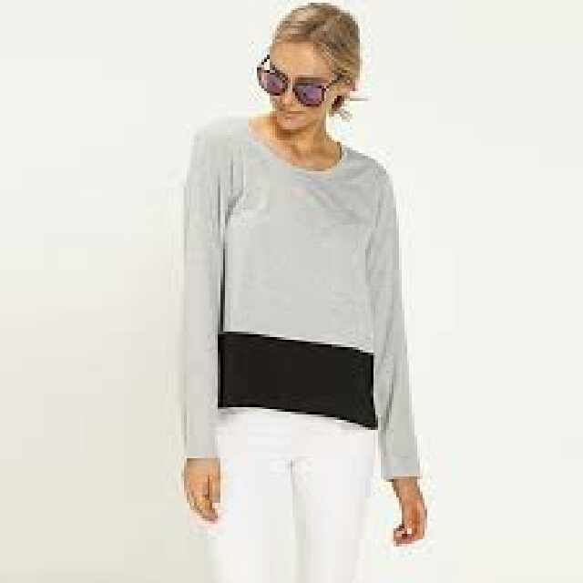 All About Eve long sleeve grey and black top