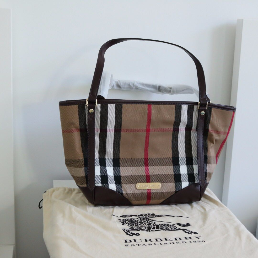 Authentic Burberry Bridle black house check tote