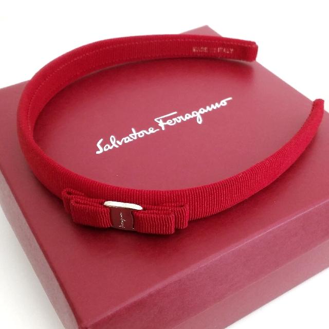 [Authentic] Salvatore Ferragamo Skinny Bow Headband - Red