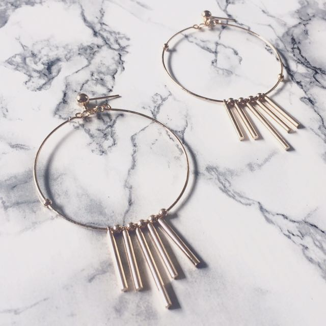 Big Circle Metal Tassel Earring