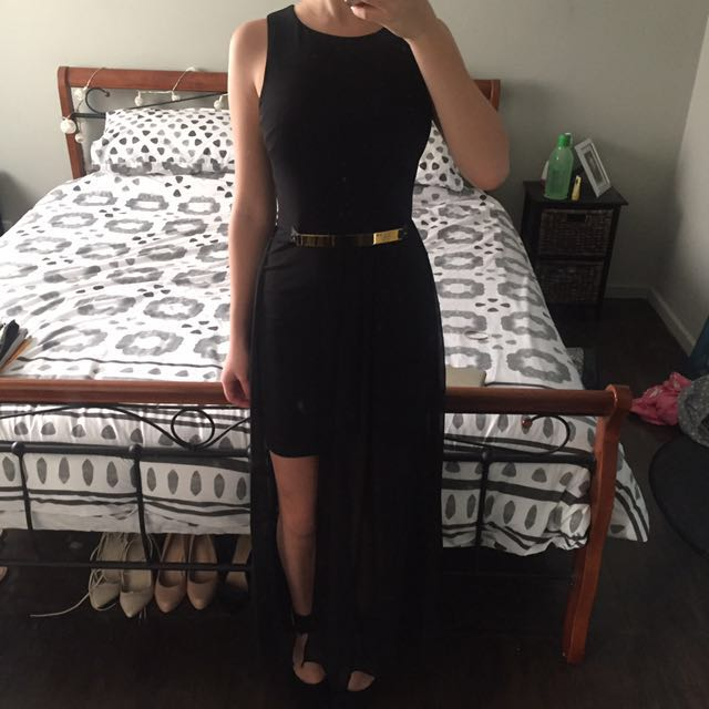 Black Formal Maxi dress With Gold Detail