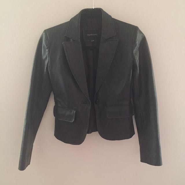 Black leather jacket with lapel