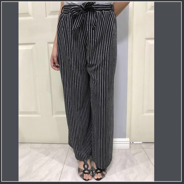Black Stripes Loose Pants With Bow