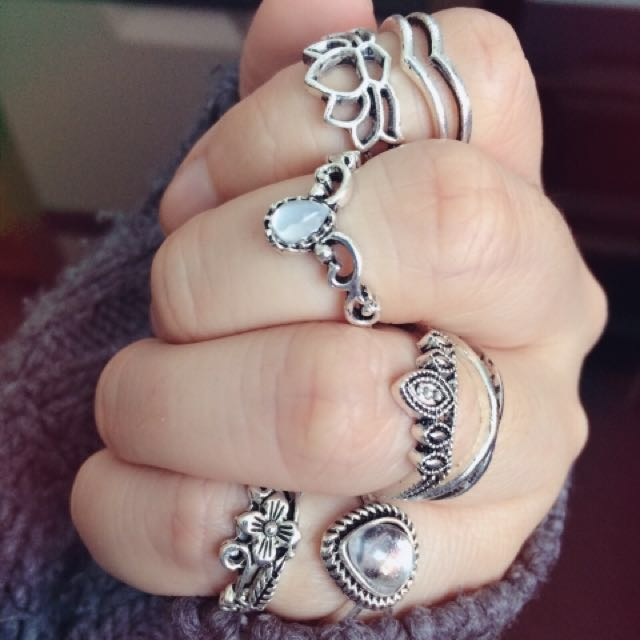 Bohemian 7pc Ring Set