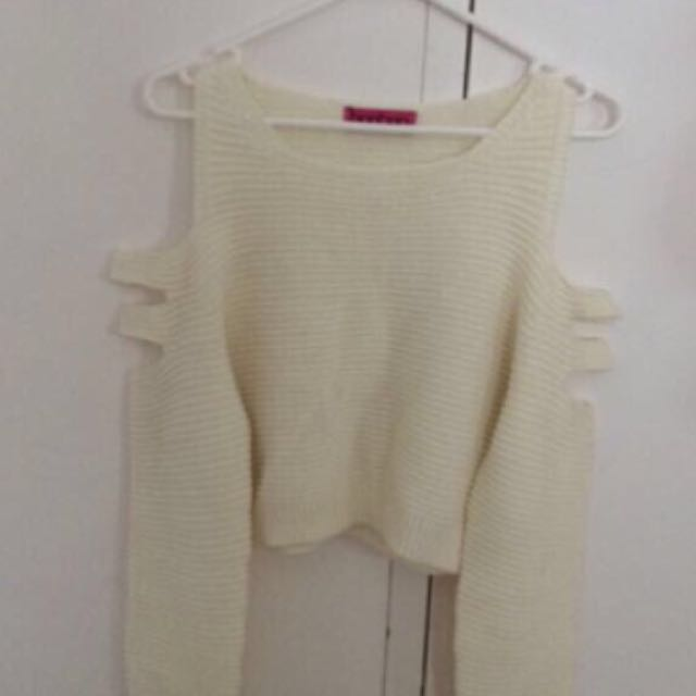Boohoo Creamy knitted crop jumper, XS-S