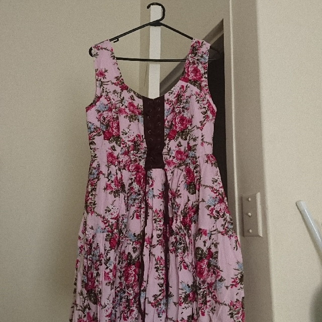 Boohoo Pink Floral Dress With Faux Corset