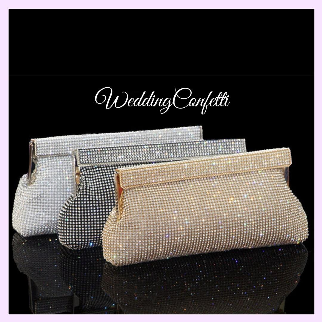66f06ffaad Brand New* Oriana Bridal Wedding Black / Gold / Silver Clutch Bags ...