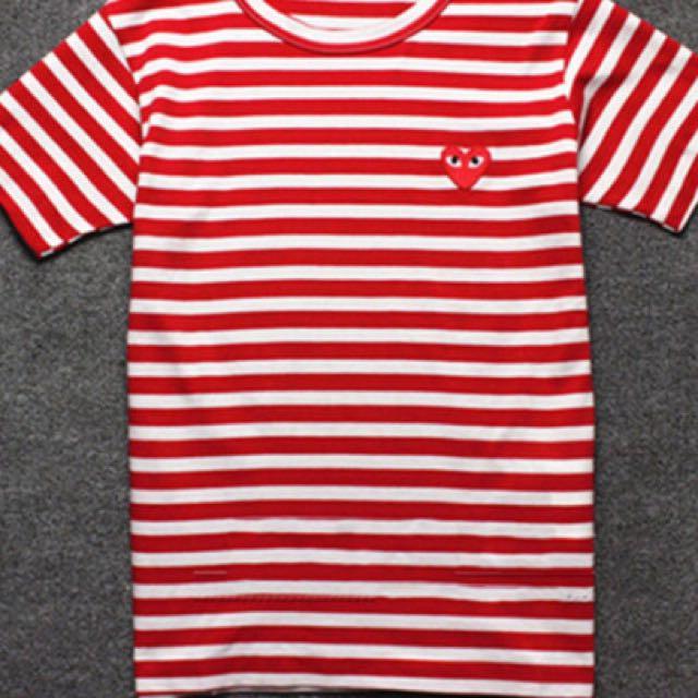Come Des Garcon short sleeve red stripe tshirt