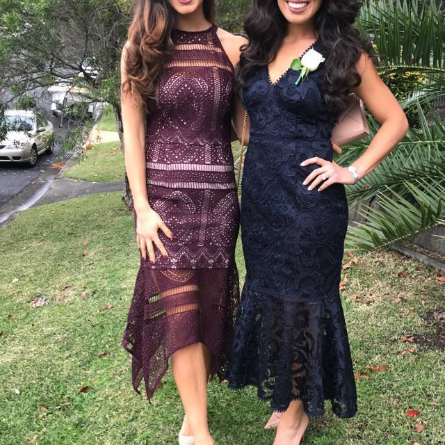 Cooper St Formal Dress Wedding Maroon Lace Cocktail
