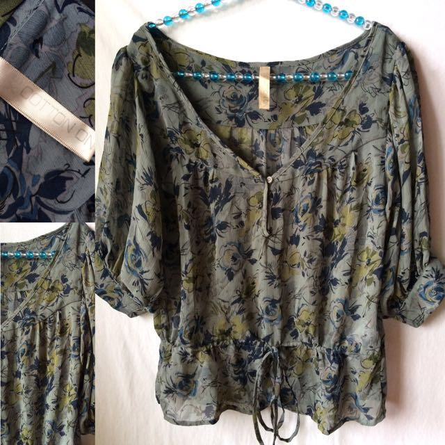 Cotton On Boho Sheer Top (preloved) | Size: XS
