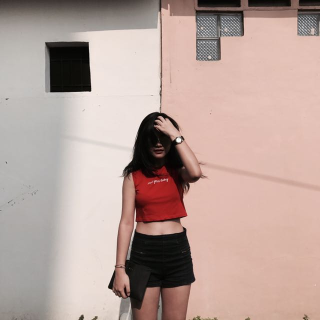 Crop Top H&M not your bae merah