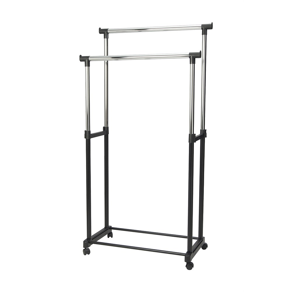 Merveilleux Epon Double Garment Rack / Cloth Hanger Rack / Up To 15kg Bearing Capacity,  Furniture, Others On Carousell
