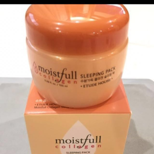 Etude house moistfull collagen sleeping pack, Health & Beauty, Bath & Body on Carousell