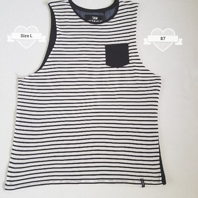 Factory Brand Size L Black And White Stripe Singlet