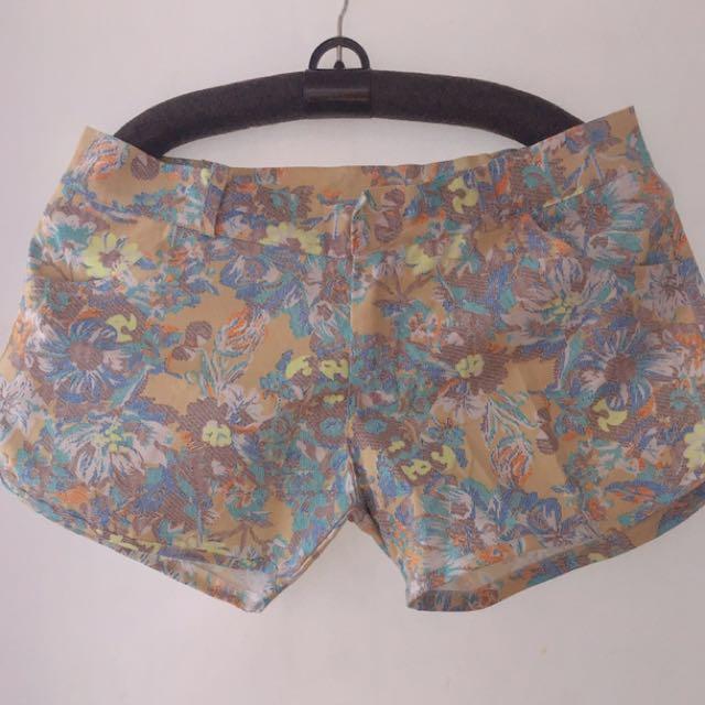 Flower Print Mini Shorts