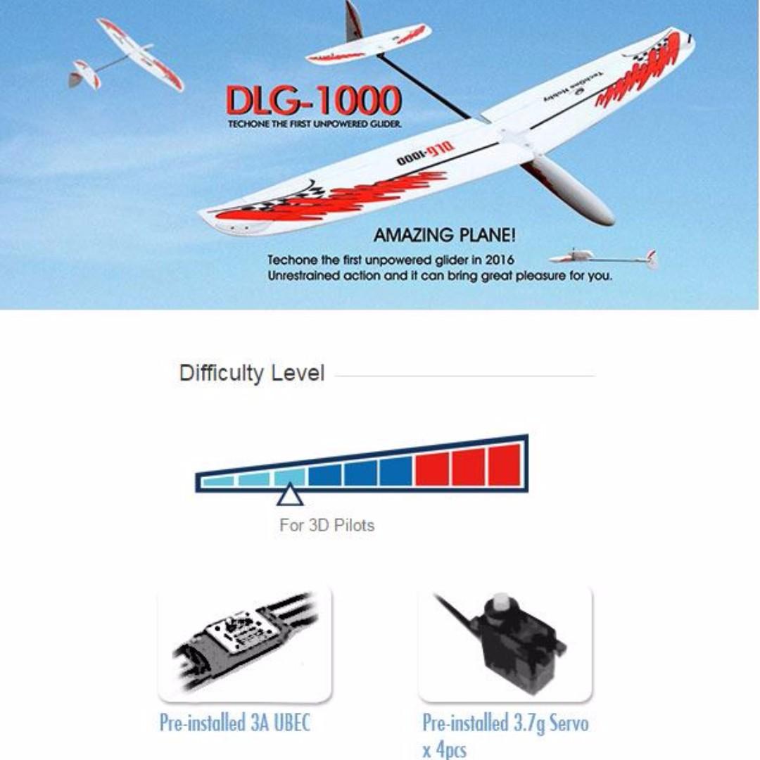 For Intermediate, Advanced Flyer, TechOne Hobby DLG-1000 EPO Unpowered  Glider, Plug-and-Play PNP, UBEC 3A, 3 7g servo x 4pcs, EPO Foam, Wingspan
