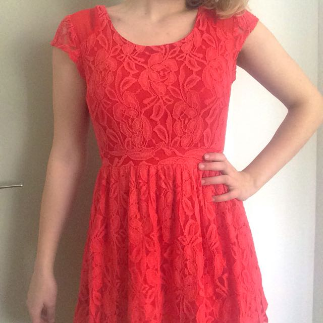 Glassons Pink Lace Skater Dress
