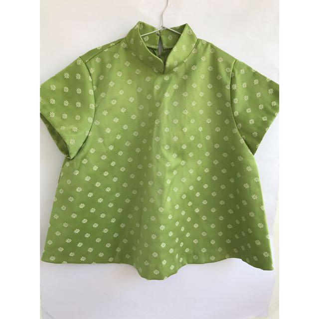 Green Qipao Top
