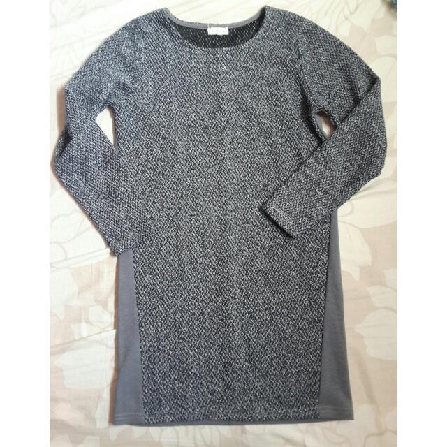 Grey Long Sleeves Shift Dress