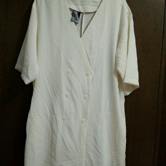 H&M Tunic Button Front Dress - Ivory Size L