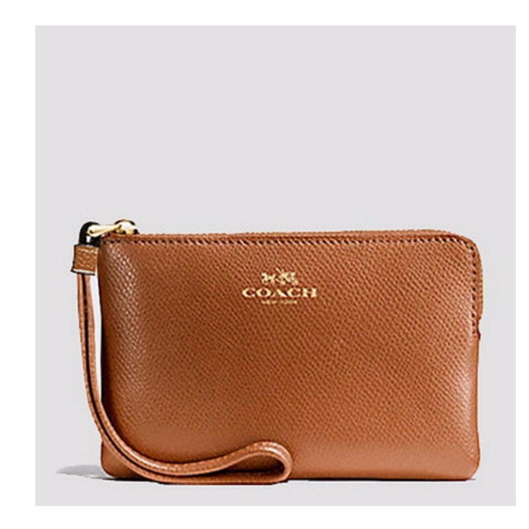 e4f9ac516d30 In stock  Coach Corner Zip Wristlet In Crossgrain Leather Gold ...