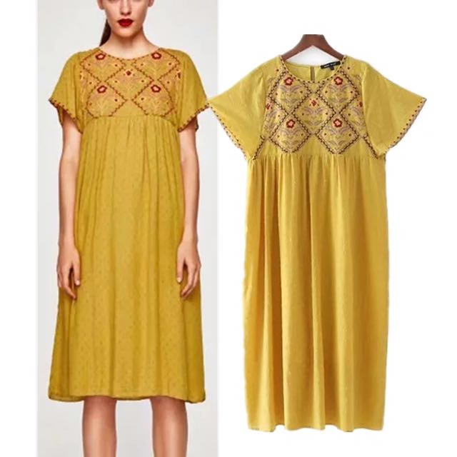 23e6beea Inspired Zara Embroidered Dotted mesh Midi Dress, Women's Fashion, Clothes,  Dresses & Skirts on Carousell
