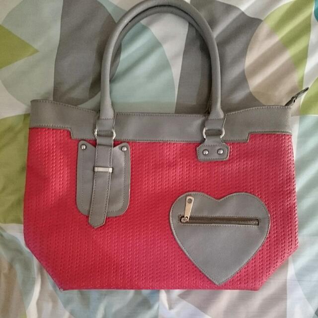 Kimbel Red & Gray Heart Bag