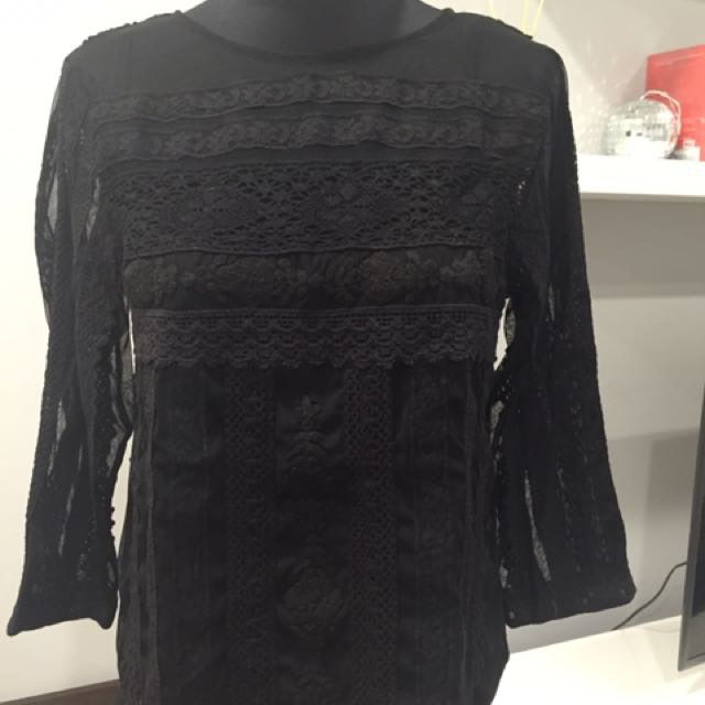 Mango Knitted Black Top