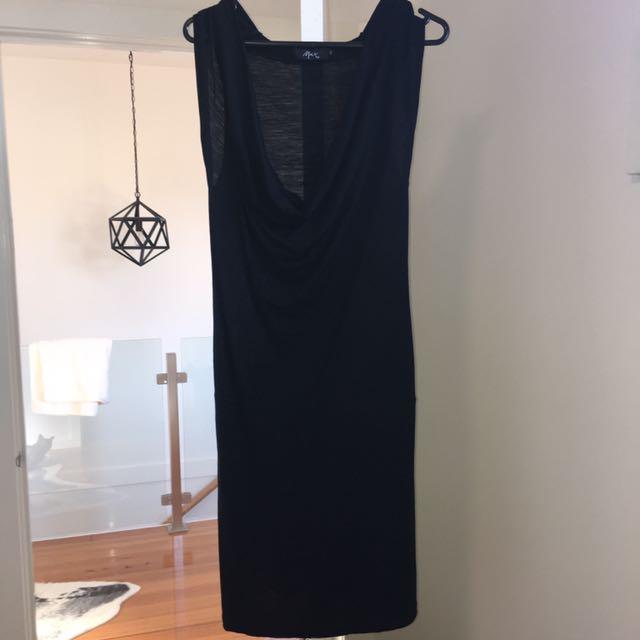 Marino wool cowl neck dress in black (10)