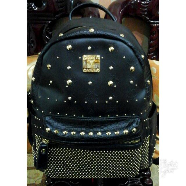 MCM Studded Medium Backpack (AUTHENTIC)