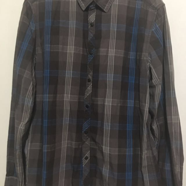 Men's Esprit Slim Fit Plaid Long Sleeves