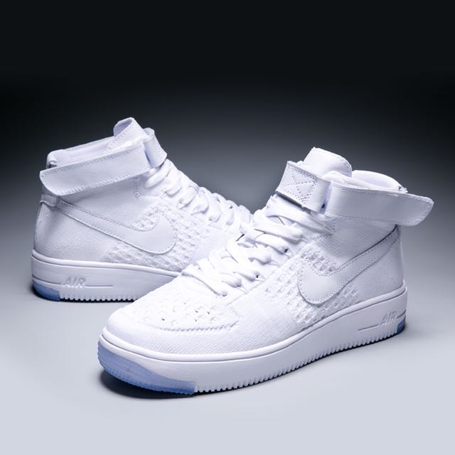 big sale c9555 83d5a NIKE Air Force 1 Ultra Flyknit Mid (White), Men's Fashion ...