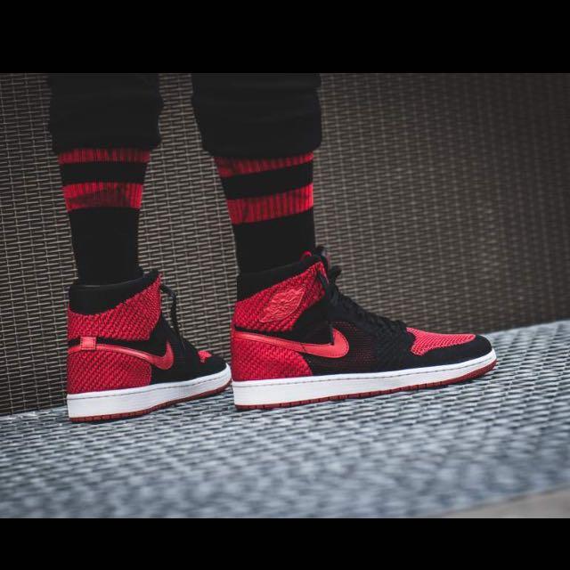 more photos 8dbd3 109c6 Nike Air JORDAN 1 Flyknit Breds, Men s Fashion, Footwear on Carousell