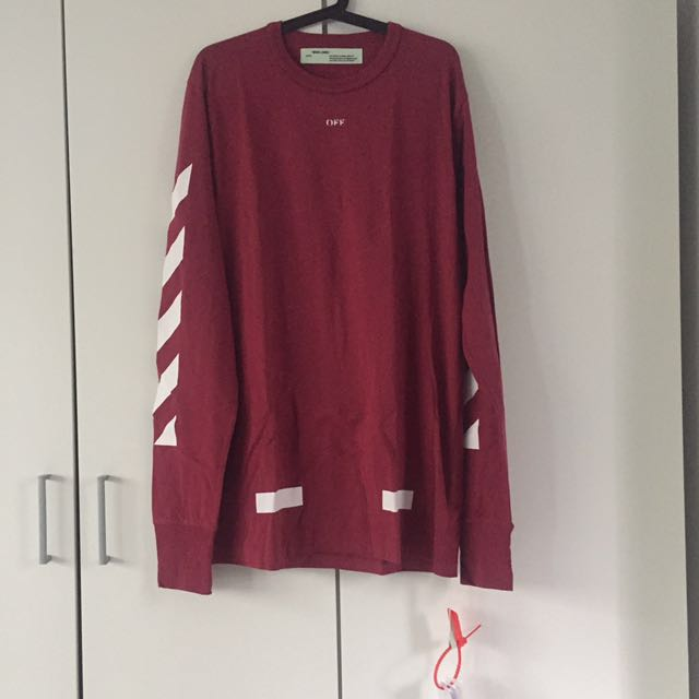 Off White Seeing Things Long Sleeved T Mens Fashion Clothes On
