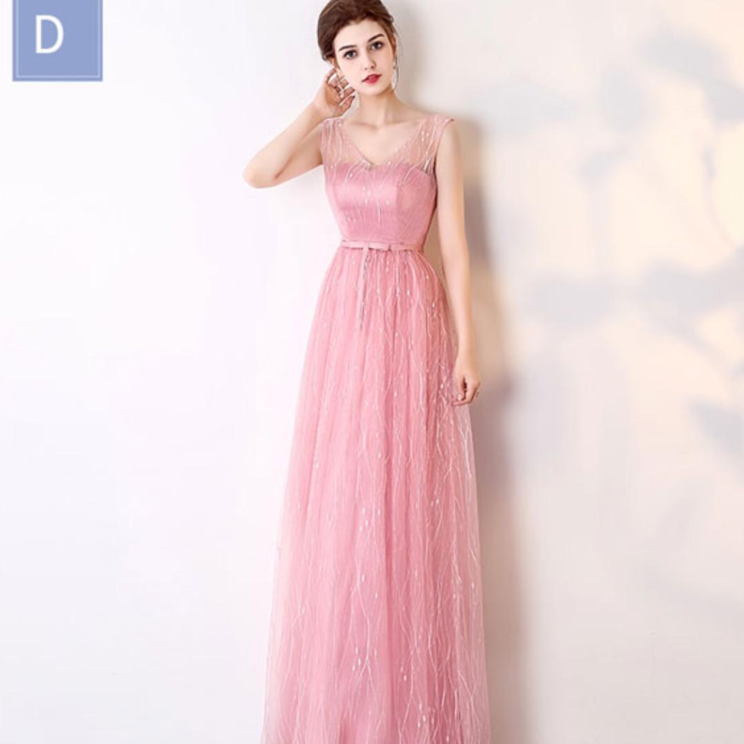 Pink Bridesmaid Floral Veins Maxi Dress, Women\'s Fashion, Clothes ...
