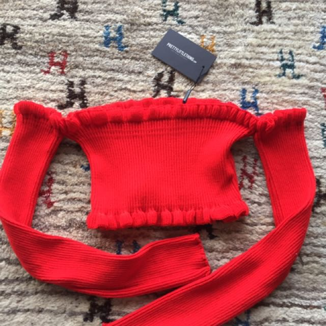 Red Ruffle Crop Knit