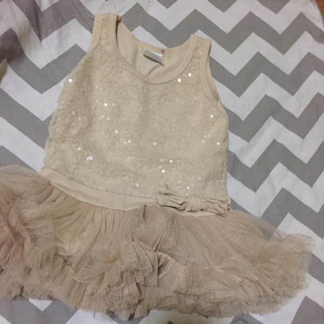 RUSH SALE! Baby couture TAN DRESS WITH RUFFLED SKIRT! Used once!