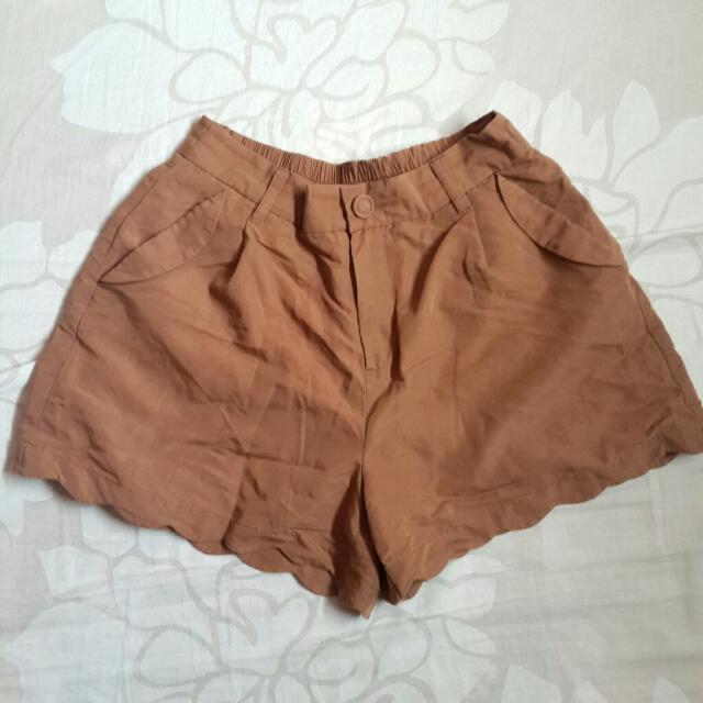 Salmon Pink Shorts w/ Scalloped Hem