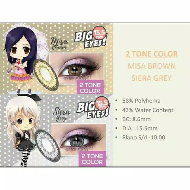 SOFTLENS MANGA SHINE 2TONE BIG EYES 15,5MM
