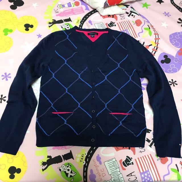 Tommy藍色格紋針織外套