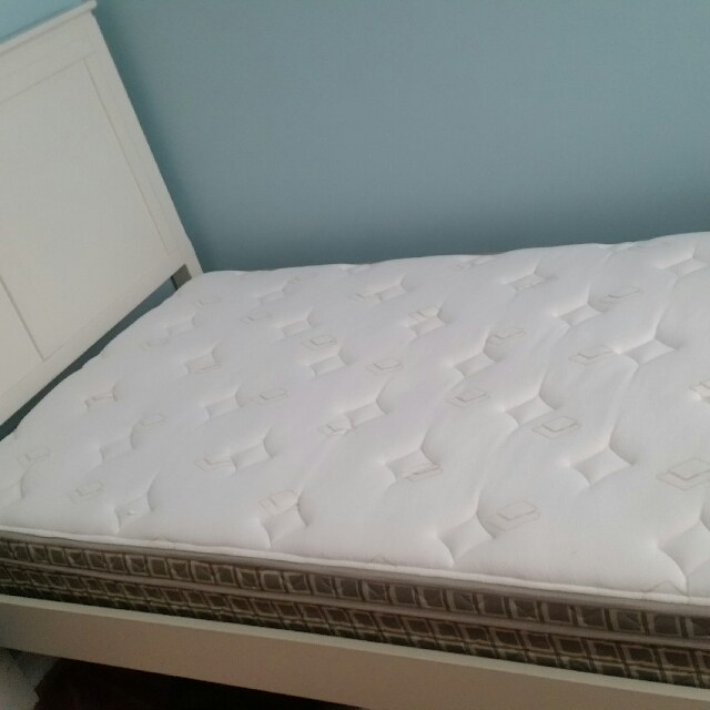 Twin Bed & Mattress (White)