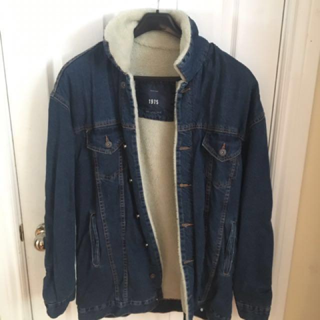 Zara Man Oversized Denim Jacket with Fur Borg - BLUE Sz. M