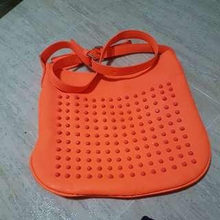 Neon Orange Studded Sling Bag