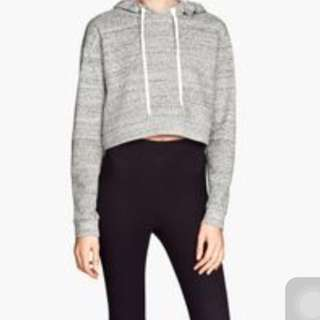 h&m grey crop hoodie