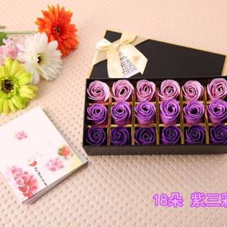 Soap Rose In Purple (18 Pieces In A Box)