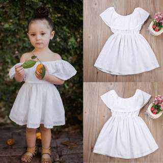 Toddler Kids Baby Off Shoulder Tunic White Dress
