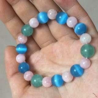 紅紋石&天河石&海藍石~水晶鍊