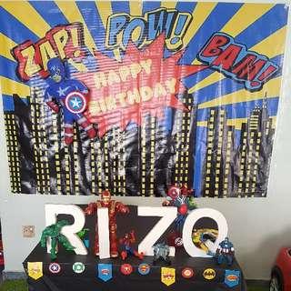 Superheroes Birthday Theme Banner